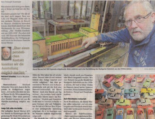 """WAZ 14. Dez. 2018 zur Ausstellung """"Alte Märklin-Eisenbahnen"""""""