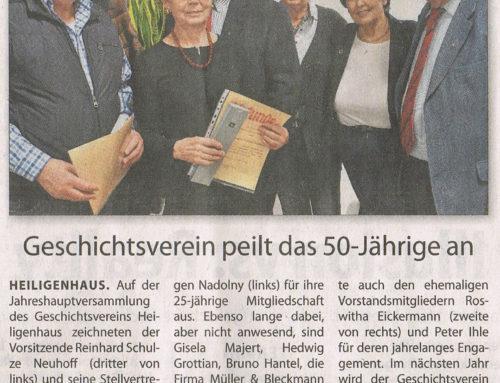 Jahreshauptversammlung – Geschichtsverein Heiligenhaus e.V. – WAZ Heiligenhaus 9. Feb. 2019