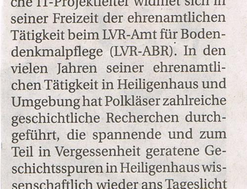 Sven Polkläser schlägt Kapitel der Stadtgeschichte auf – Rheinische Post Heiligenhaus vom 14.Feb.2019