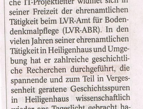 Geschichte unter unseren Füßen – WAZ Heiligenhaus vom 14.Feb.2019