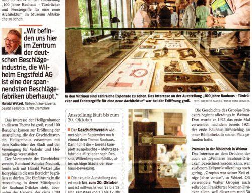 Ausstellung Bauhaus Drücker – Pressebericht WAZ vom 22.07.2019