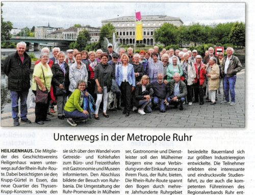 Geschichtsverein in der Metropole Ruhr – Stadtanzeiger 26.10.2019
