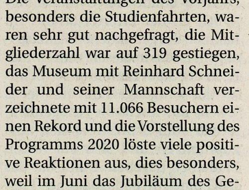 Jahreshauptversammlung im Jubiläumsjahr – Rheinische Post 07.02.2020