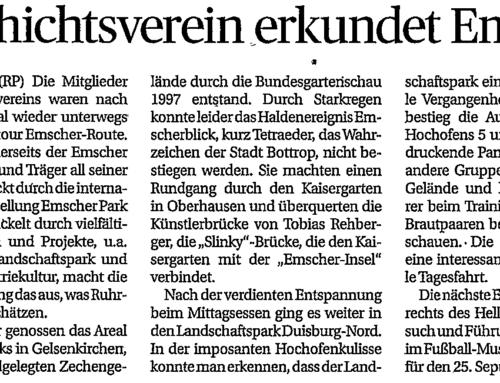 Geschichtsverein erkundet Emscher – Rheinische Post 2. Sep. 2021